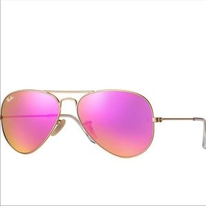 Ray-Ban Aviator Cyclamen Mirror Flash Sunglasses